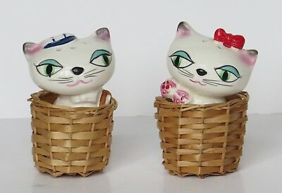 Vintage commodore anthropomorphic salt & pepper shakers kittens in baskets