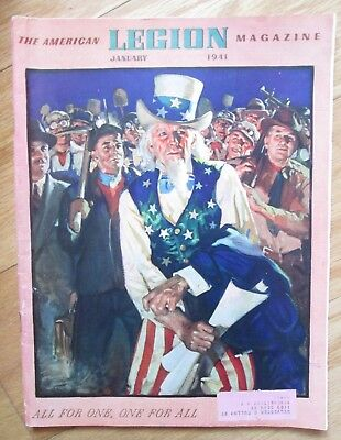WWII AMERICAN LEGION January 1941 UNCLE SAM Military Cover MAGAZINE! Vol.30 # 1