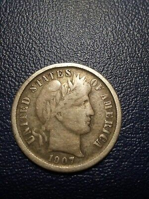 1907O Barber Dime 10C 90% Silver New Orleans Mint Rare Date Free Shipping Nice