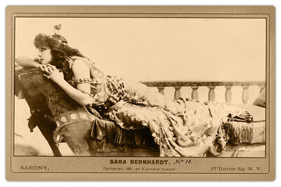 SARAH BERNHARDT Actress Legend as CLEOPATRA Sarony Photo Cabinet Card Vintage RP