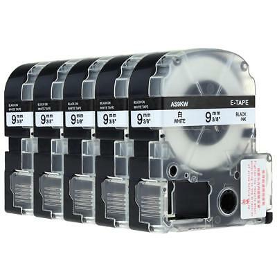 5PK SS9KW Compatible with Epson K-Sun Label Tape Black on White 9mm 3/8 Maker