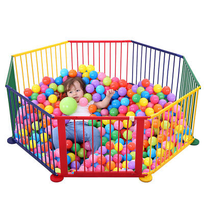 8 Panel Wood Baby Playpen Kids Safety Play Center Yard Home Indoor Outdoor Game