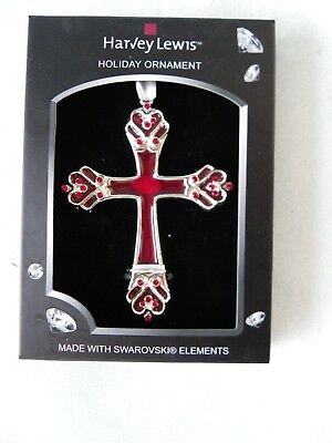 Harvey Lewis Holiday Red Cross Ornament Swarovski Elements Silver Plated New