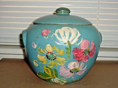 RANSBURG Stoneware Pottery Blue COSMOS Hand Painted Cookie Jar Model 700 Short