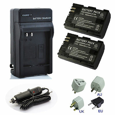 LP-E6 2650mAh Battery / Wall Charger For Canon EOS 5D II III IV 80D 70D 6D 7D