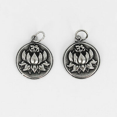 1  Flowers charm dark silver tone stainless steel F299