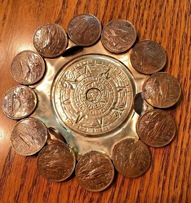 VINTAGE '70's COIN Handmade Aztec Sun & CENTAVOS HAMMERED Ashtray