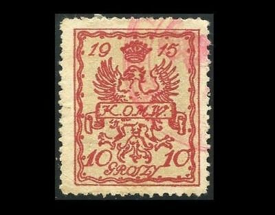 Gf477. German Occupation Poland Warszawa Local Stamp 1915 Michel #2 Fiscal Use