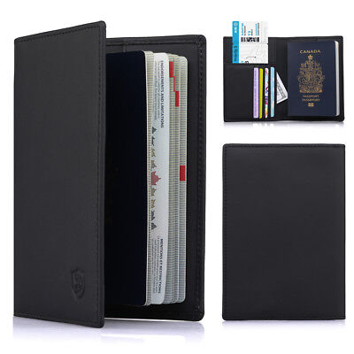 Leather Passport Holder RFID Blocking Travel ID Credit Card Wallet Cover pocket