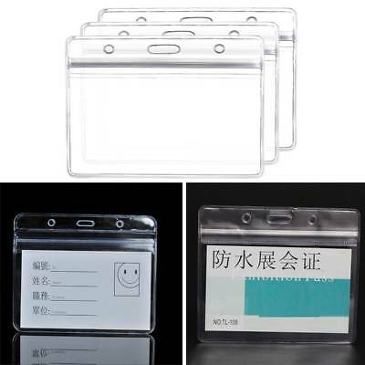 10Pcs  Exhibition ID Badge Cards Waterproof  Pocket Holder Pouches Office Supply