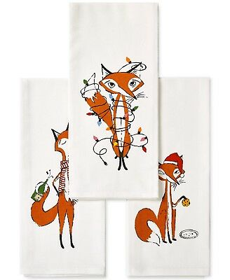 kate spade New York 3 Piece Set FESTIVE FOXES Kitchen Tea Dish Towels