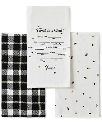 kate spade New York 3 Piece Set TOAST IN A PINCH Kitchen Tea Dish Towels