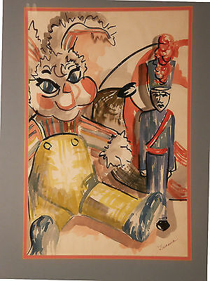 Mid century 'TOYS, THE SOLDIER & THE RABBIT' Vintage Watercolor Painting