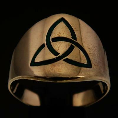 Mens Celtic Bronze Ring Three Marquise Trinity Triquetra Knot Green Any Size