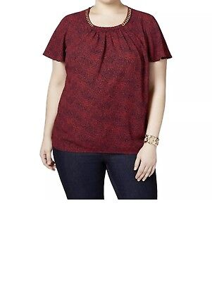 MICHAEL Michael Kors Womens Red Printed Embellished Casual Top 3X Retail $89.99