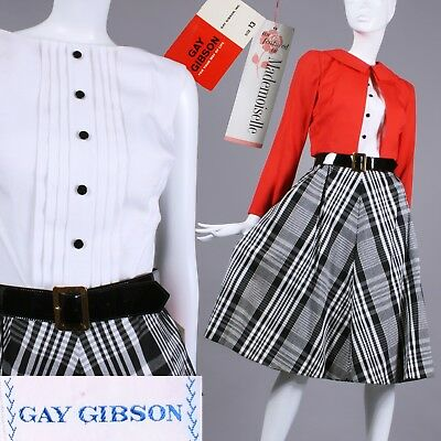 S NOS Vintage 1950s Gay Gibson Plaid Dress Red Bolero Belt Set Fit Flare 60s