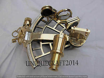"Antique Nautical Sextant 9"" Working Heavy Brass Astrolabe Maritime Instrument."