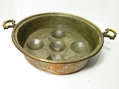 """Vintage 11"""" wide Copper Egg Poaching Escargot Ebelskiver Pan with Brass Handles"""