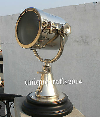 Vintage Marine Classical Industrial Nautical E27 Searchlight Table Lamp W/Wooden