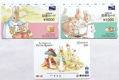 Peter Rabbit Used Book & Train Card 3 pc Passnet Beatrix Potter Animal F/S JAPAN