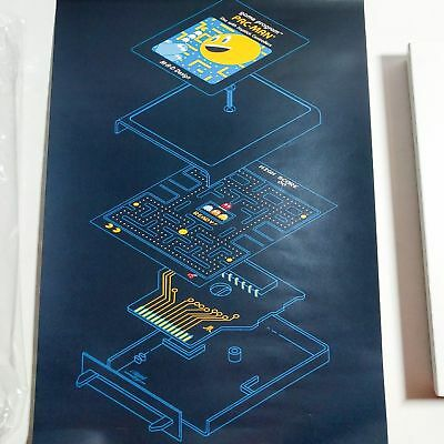 """PAC-MAN Exploded Diagram Schematic 9"""" x 13"""" Poster - Loot Crate 2015 - NEW"""