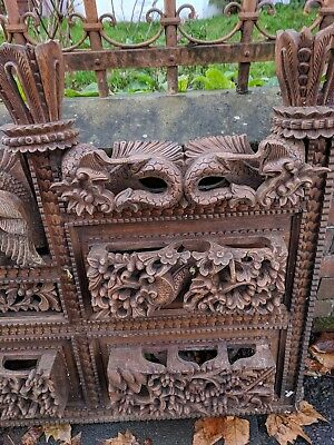 Antique Large Indian carved bed or decorative panel