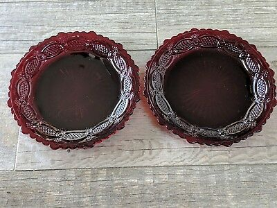 """Lot of 2 Vintage Avon Ruby Red 1876 Cape Cod Collection Salad Plates 7-1/2"""""""