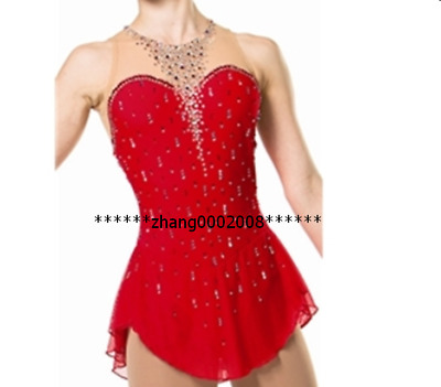Ice skating dress.Red Twirling Skating dress.Drop Crystals Tap Dance Costume