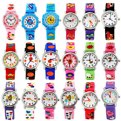 18 Patterns 3D Cartoon Waterproof Wrist Watch Rubber Analog For Kids Boys Girls