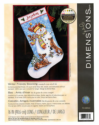 Dimensions WINTER FRIENDS STOCKING Counted Cross Stitch Kit New NICE! FREE SHIP