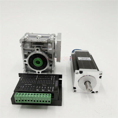 Worm Gearbox Nema23 50:1 Reduction Geared Stepper Motor Speed Reducer&TB6600 Kit