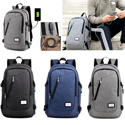 Unisex USB Charging Backpack Laptop Notebook Travel School Bag Anti-theft Bags