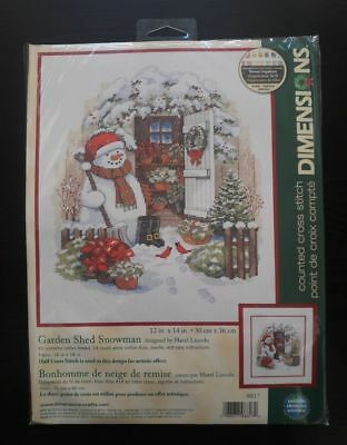 Dimensions GARDEN SHED SNOWMAN Full Size Counted Cross Stitch Kit New/Sealed