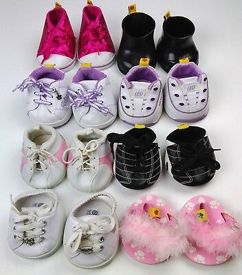 Build a Bear Used Lot-8 Pair, Fuzzy Pink Slippers, Boots, Red Shoes, Track Shoes