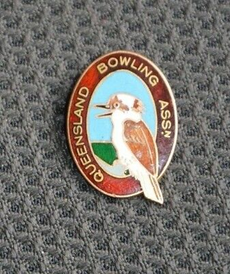 9ct Gold & Enamel Queensland Bowling Assn Pendant - 5gr.