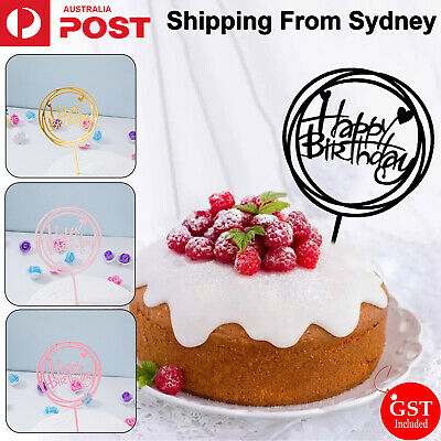 Round Happy Birthday Cake Topper Acrylic Gold Twinkle DIY Glitter Cupcake Cake S