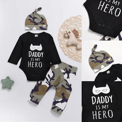 AU Stock Newborn Baby Boys Romper Bodysuit Jumpsuit Camo Outfits Set Clothes Hat