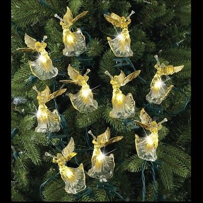 Vtg Xmas 10 Crystal Angels Golden Wings Trumpets Mini Lights String Set NIB NICE