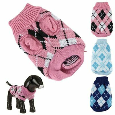 Small Pet Dog Warm Knitted Sweater Puppy Jumper Knitwear Coat Jacket Apparel AU