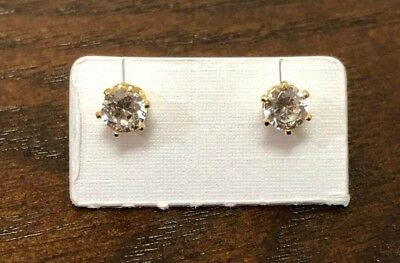 1/4 ct CZ Stud Earrings Cubic Zirconia men women 14K gold plated (one pair)
