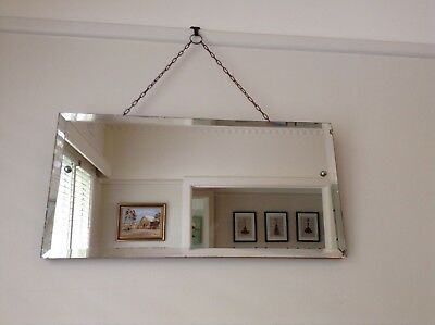 Vintage Bevelled Mirror With Hanging Chain.