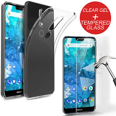For Nokia 7.1 Transparent Clear TPU Gel Case Cover + Tempered Glass Guard