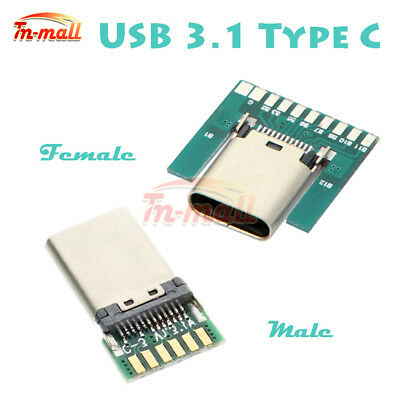 24Pin USB 3.1 Type C USB-C Male Female Plug Socket Connector SMT Type + PC Board
