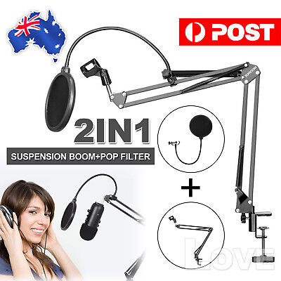 Telescopic Boom Microphone Stand Adjustable Mic Holder Mount Tripod Pop Filter