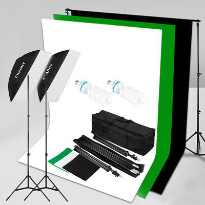 1250W 5500K Softbox Light Stand Photo Studio Continuous Lighting Kit 3 Backdrops