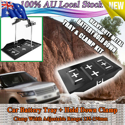 Universal Metal Car Battery Tray & 135-190mm Adjustable Hold Down Clamp Kit AU