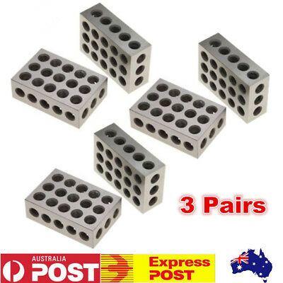 """3 Pairs 1-2-3 Block Set 0.0001"""" Precision Matched Mill Machinist 123 23 Holes"""