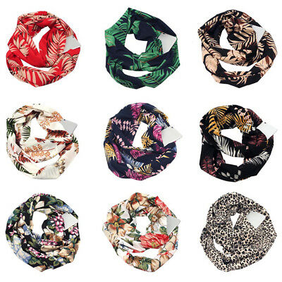 Women Floral Print Warm Winter Infinity Scarf with Hidden Loop Zipper Pocket AU
