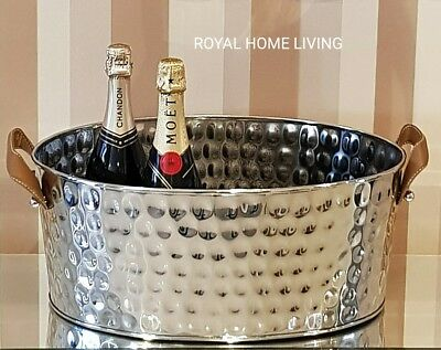 Stainless Steel Champagne Wine Beer Ice Bucket Tub Leather Handles Large