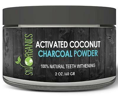 Large Size Organic Coconut Activated Charcoal Teeth Whitening Powder 2oz / 60g